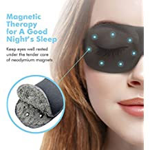 Sleep Mask For Woman & Man , PaiTree Magnetic Therapy Eye Mask for Sleeping Eye Covers Sleep Blindfold , Super Soft - 3D Contoured Eye Space -Professionally-Made Night Mask Eye Shade (Black)