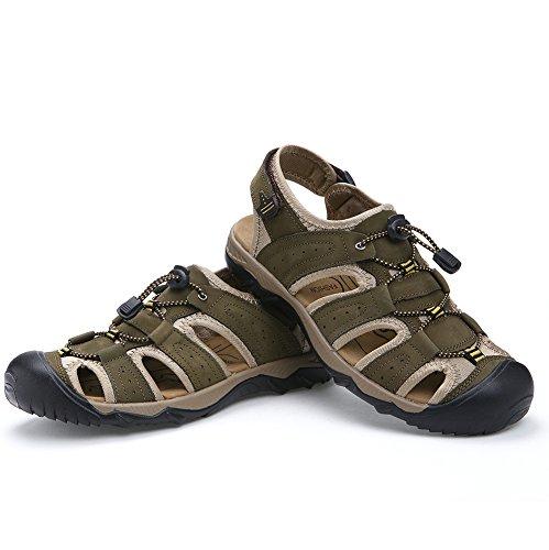 Comodi Scarpe Sober Sandali Antiscivolo per estive e Uomini Mr Pelle in Moda da Spiaggia Armygreen la BXwUx8n