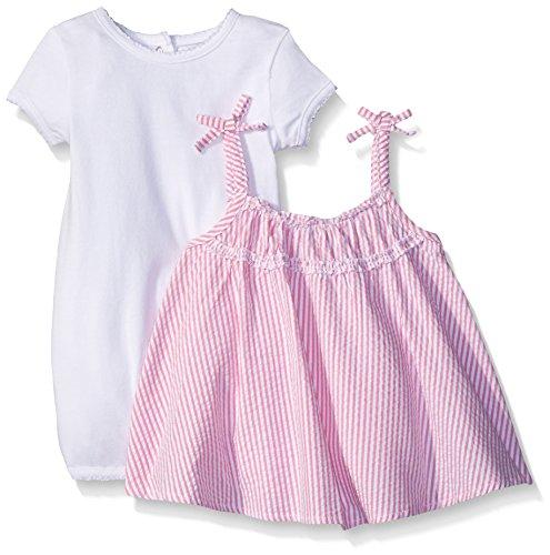 Absorba Baby Infant Girls Seersucker 2 Piece Woven Romper, Pink/White, 18 Months