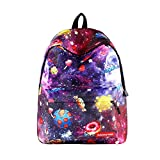 Portable Vogue Star Casual School Backpacks, YiMiky Zipper Students Retro Backpack for Women and Men Rucksack Fashion Canvas Lightweight Cycling Star Pattern Travelling Shopping Bags (04)