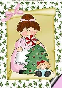 Del bebé para la abuela HOLLY en un SCROLL con árbol de navidad y juguetes A4 por Nick Bowley