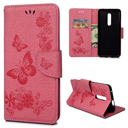 Price comparison product image OnePlus 7 Pro Case,  Floral Butterfly Wallet Case PU Leather Magnetic Flip Cover Shock Resistant Flexible Soft TPU Slim Protective Bumper Shell Card Slots Kickstand Lanyard for OnePlus 7 Pro Pink