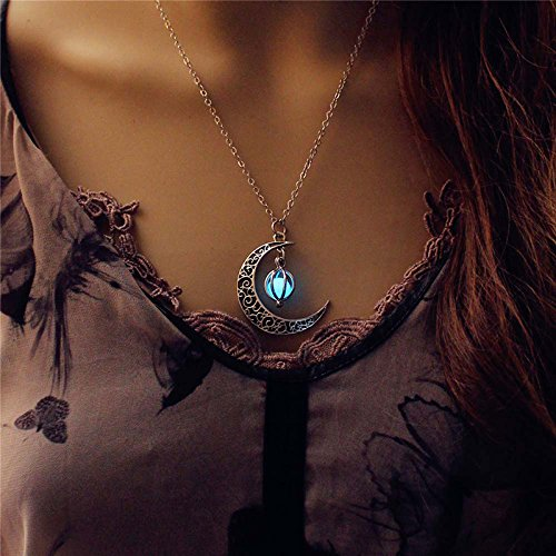 Moon Glowing Necklace, Turquoise Glow Jewelry, Birthday Gift, Christmas Gift FJSR