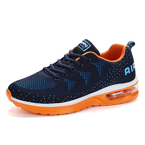 Chaussures Running Baskets Bleu Walk Maille Orange Athletic Mode Plein Hommes Jedvoo De Air Gym Femmes Sport wtZSpxYq