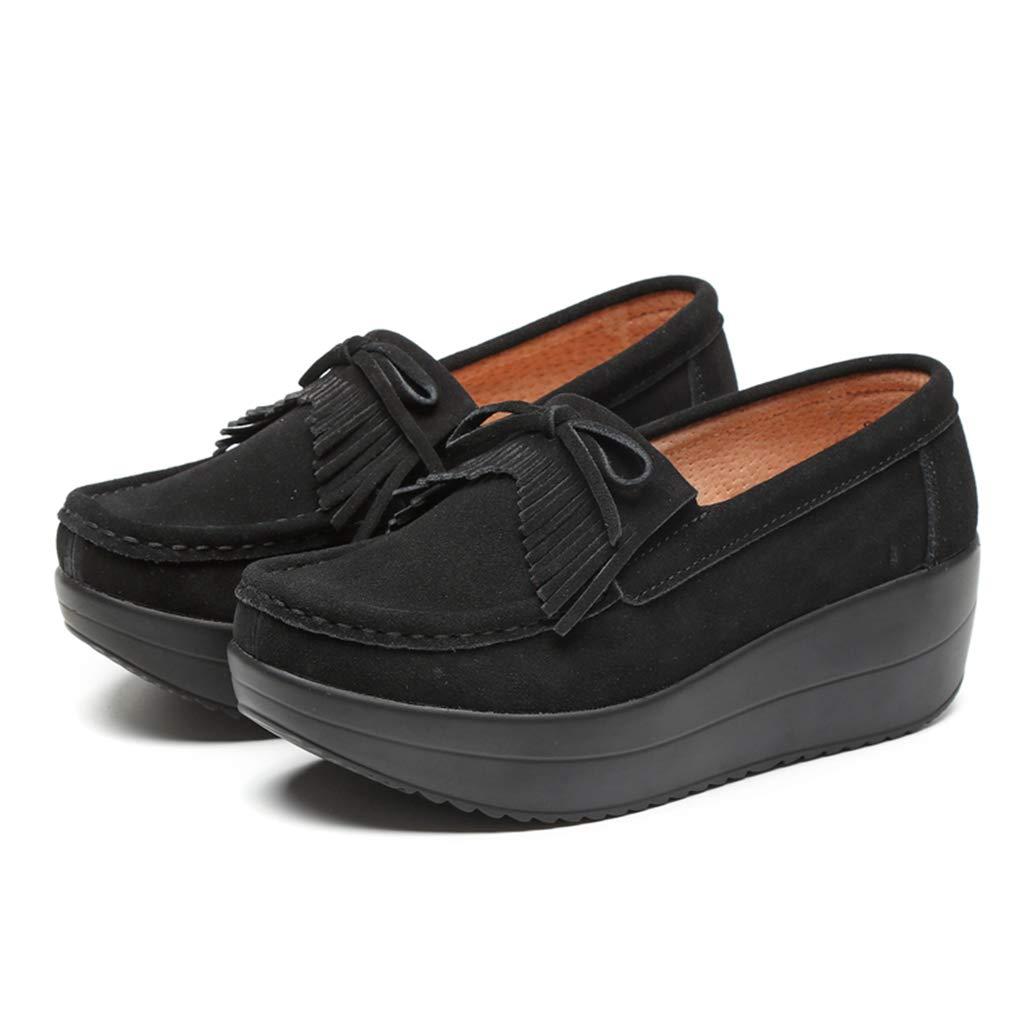 York Zhu Women Loafers Platform Shoes Ladies Casual Elegant Suede Tassel Moccasins