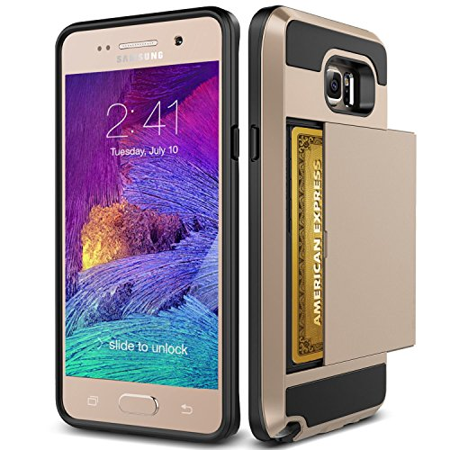 Note 5 Case, TekSonic Samsung Galaxy Note 5 Case (Gold) Armor Series [Card Slide Slot][Drop Protection][Heavy Duty][Wallet] Full Cover Protection Tough Case for Samsung Galaxy Note 5 (Golden) (Verus Case Note 3 Card)