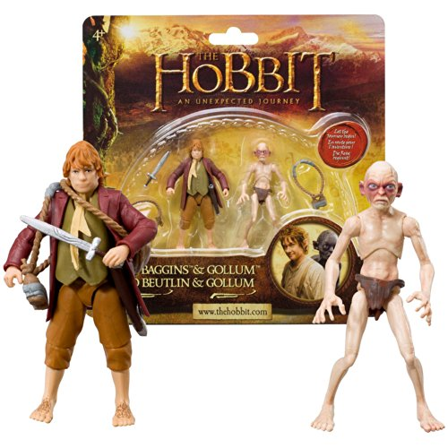 """Bridge Direct Year 2012 The Hobbit Movie Series """"An Unexpected Journey"""" 2 Pack 3 Inch Tall Action Figure - BILBO BAGGINS with Sword, Bag and Bottle Carrier with 2 Bottles Plus GOLLUM"""