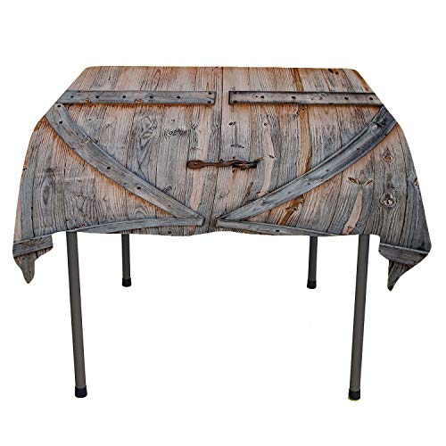 (Country Decor, Table ClothsOld Wooden Garage Door American Style Decorations for Bathroom Print Vintage Rustic Theme Decor Home Antiqued Look Polyester Bronze Charcoal, for Outdoor and Indoor Use, 36x)