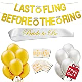 Classy Bridal Shower Bachelorette Party Supplies Decorations Kit Pack Last Fling Before The Ring Banner, 12 Gold White Balloons, Bride to Be Sash, Temporary Bride Tribe Tattoos, Plus Free Games, Gift