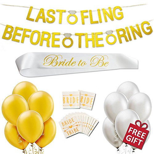 Classy Bridal Shower Bachelorette Party Supplies Decorations Kit Pack Last Fling Before The Ring Banner, 12 Gold White Balloons, Bride to Be Sash, Temporary Bride Tribe Tattoos, Plus Free Games, (Palm Springs Game)