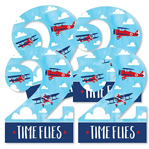 2nd Birthday Taking Flight - Airplane - Two Shaped Decorations DIY Vintage Plane Second Birthday Party Essentials - Set of 20 ()