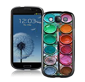 Hot Sale Samsung Galaxy S3 I9300 Screen Case ,Pastel Watercolor Paint Box Set Black Samsung Galaxy S3 Cover Unique And Popular Designed Phone Case