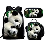 Showudesigns Couple Panda Print School Backpack Set with Small Lunch Bag Pencil Case