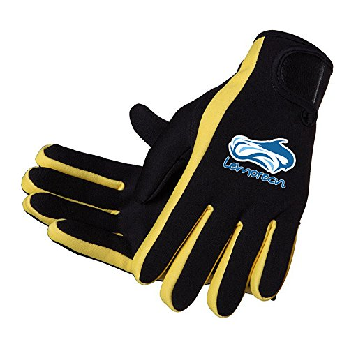 Lemorecn Wetsuits Gloves Scuba Premium Neoprene 1.5mm Diving Gloves Five Finger Glove