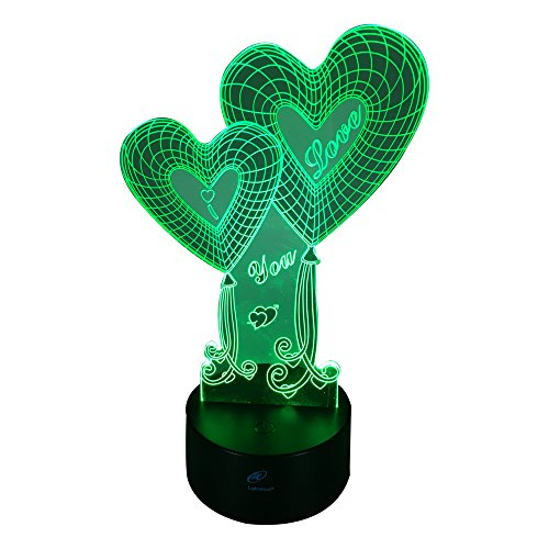 Lightahead Amazing 3D Optical Illusion Touch Night Light LED Desk Lamp Art Piece with 7 changing Colors, USB Powered for Decoration & Gifts (2 Love Hearts)