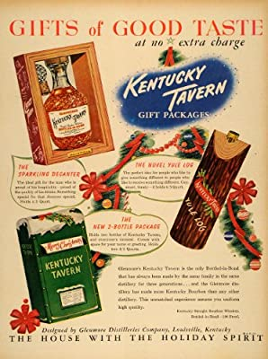 1949 Ad Kentucky Tavern Gift Packages Whiskey Yule Log Sparkling Decanter Bottle - Original Print Ad