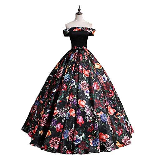 Beilite Women's Off Shoulder Floral Print Long Evening Party Gowns Satin A Line Prom Bridesmaid Dress Black 0 ()