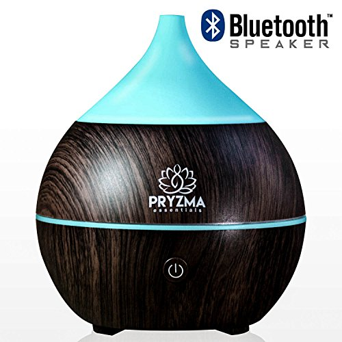 Price comparison product image Pryzma Essentials Bluetooth Speaker Aromatherapy Essential Oil Diffuser,  7 Color Changing LED Night Light,  200ml Cool Mist Ultrasonic Humidifier,  Wood Grain and Waterless Auto Shut-off. Yoga Spa Home