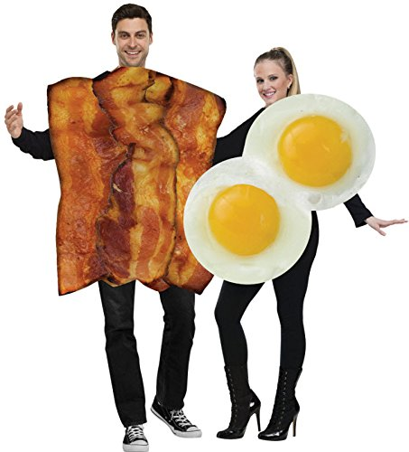 [Bacon & Eggs Couples Adult Costume] (Bacon And Egg Halloween Costume)