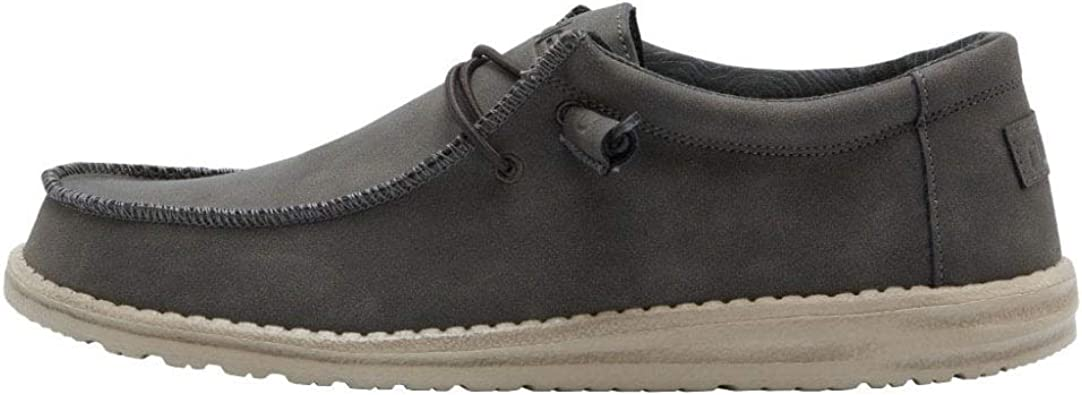 Hommes Hey Dude Wally recyclé cuir noir carbone Wallaby Chaussures