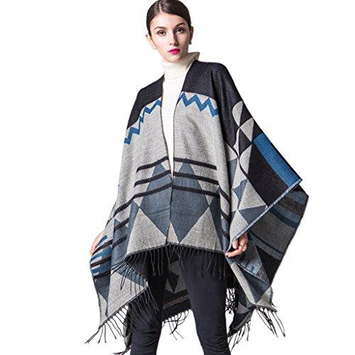 Women's Bohemia Tassels Open Front Oversized Plus Size Poncho Blanket Cape Shawl Cardigans Ethnic Style Black (Glamour Poncho)