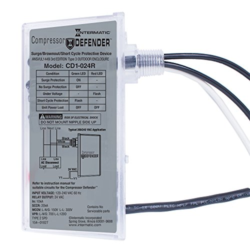 Intermatic CD1-024R Compressor Defender Protects Central Air Conditioner / Heat Pump Compressors and Circuit Boards (Best Surge Protector For Air Conditioner)