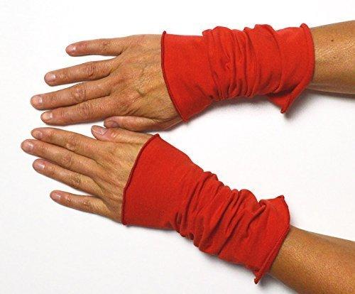 Lange Sommer Stulpen Baumwolle rot 25 cm