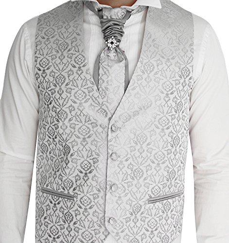 Herren Weste Grau Silber -SET 5 TEILIG - Designer Hochzeitsweste W-05