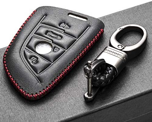 Vitodeco Genuine Leather Keyless Smart Key Fob Case Cover with Leather Key Chain for 2019 BMW 2 3 X1 5 4-Button, Black//Red X7 X4 6 7 M Series X6 X3 X5