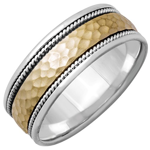 14K Two Tone Gold Braided Rope Edge Men's Hammered Finish Comfort Fit Wedding Band (8.5mm) - Mens Edge Braided