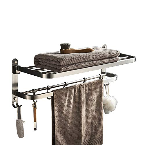 YJ YANJUN Hotel Towel Rack with Shelf for Bathroom Foldable Shower Towel Holder Wall Mounted Stainless Steel Brushed Nickel
