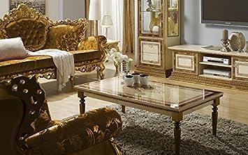 Wohnzimmer Tisch Jenny beige gold Stilmöbel Glanz Barock: Amazon.de ...