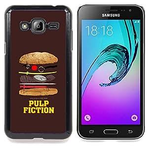 "Qstar Arte & diseño plástico duro Fundas Cover Cubre Hard Case Cover para Samsung Galaxy J3(2016) J320F J320P J320M J320Y (Película Símbolo parodia divertida comida chatarra"")"