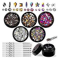 Nail Art Rhinestones Set with Glue and Tools In 5 Colour/Shapes