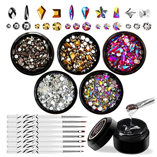 - Nail Art Rhinestones Set with Glue & Tools, Mixed Flatback Crystal Rhinestones (5 Colors, Multiple Shapes) & 8ml Adhesive Resin Gel (UV Light needed) & 1Pc Dotting Pen & 7Pcs Brush Set
