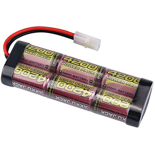 melasta 7.2V 4200mAh Flat NiMH High Power Rechargeable Battery Packs with Tamiya Connector for RC Cars,RC Tanks, RC Trucks, RC ()