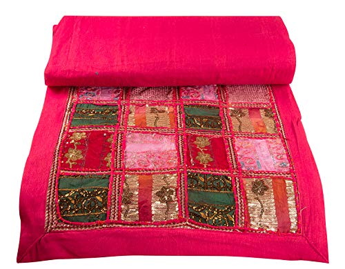"Tribe Azure Fair Trade Pink Table Runner Cotton 18"" x 58"" Handmade Embroidered Boho Bohemian Colorful Patchwork Indian Decoration Reception Party Wedding Decor Tapestry"