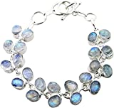 Designer Sterling Silver Overlay Clasp Bracelet with Genuine Rainbow Moonstone Gemstones offers