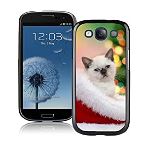 Design for Mass Customization Christmas Cat In Hat Black TPU Phone Case For Samsung Galaxy S3,Samsung I9300 Cases
