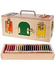B Blesiya Juguete Montessori de Madera Caja de Cerradura y Caja de Color Juego de Aprendizaje Teprano para Niños Niñas