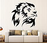 Vinyl Wall Decal Lion King Head African Animal Predator Stickers Large Decor (1396ig) Gold Metallic