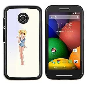Pin encima de la niña modelo rubio atractivo del traje de baño- Metal de aluminio y de plástico duro Caja del teléfono - Negro - Motorola Moto E / XT1021 / XT1022
