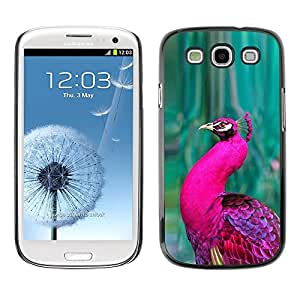Peacock Green Bird púrpura vibrante pluma- Metal de aluminio y de plástico duro Caja del teléfono - Negro - Samsung Galaxy S3