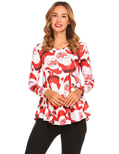 Misakia Women's Long Sleeve Merry Christmas Pleated Long Tunics for Leggings(Wine Red L) (Silk Cotton & Tunic Pleated)