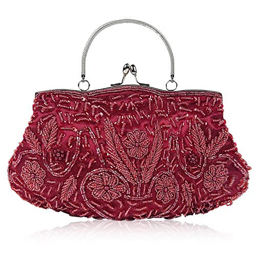 Women for Gold Women Clutch Evening Color Ybriefbag for Suitable Girls Parties Lady Evening Messenger Purse Handbags Evening Beading Bag Hard Red Wine Crossbody Dinner Bags Rhinestone Tote Sw1YqnwCRx