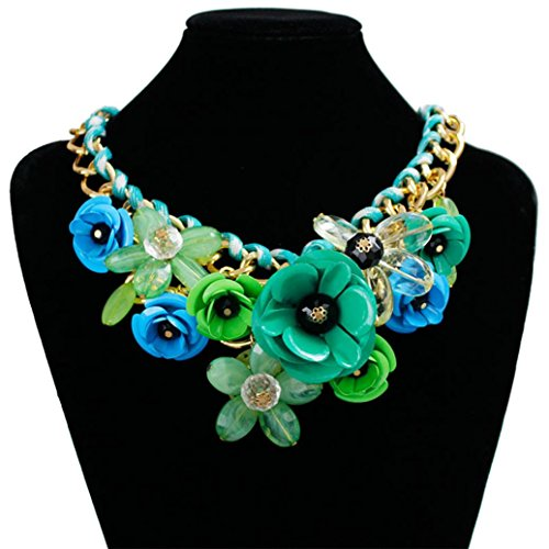 (DZT1968 Women Mixed Style Chain Crystal Colorful Flower Luxury Weave Necklace (Green))