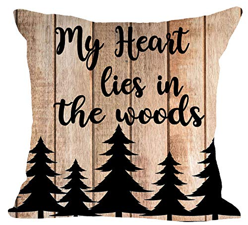 Nordic Retro Wooden My Heart Lies in The Woods Forest Pine Trees Cotton Linen Square Throw Waist Pillow Case Decorative Cushion Cover Pillowcase Sofa 18