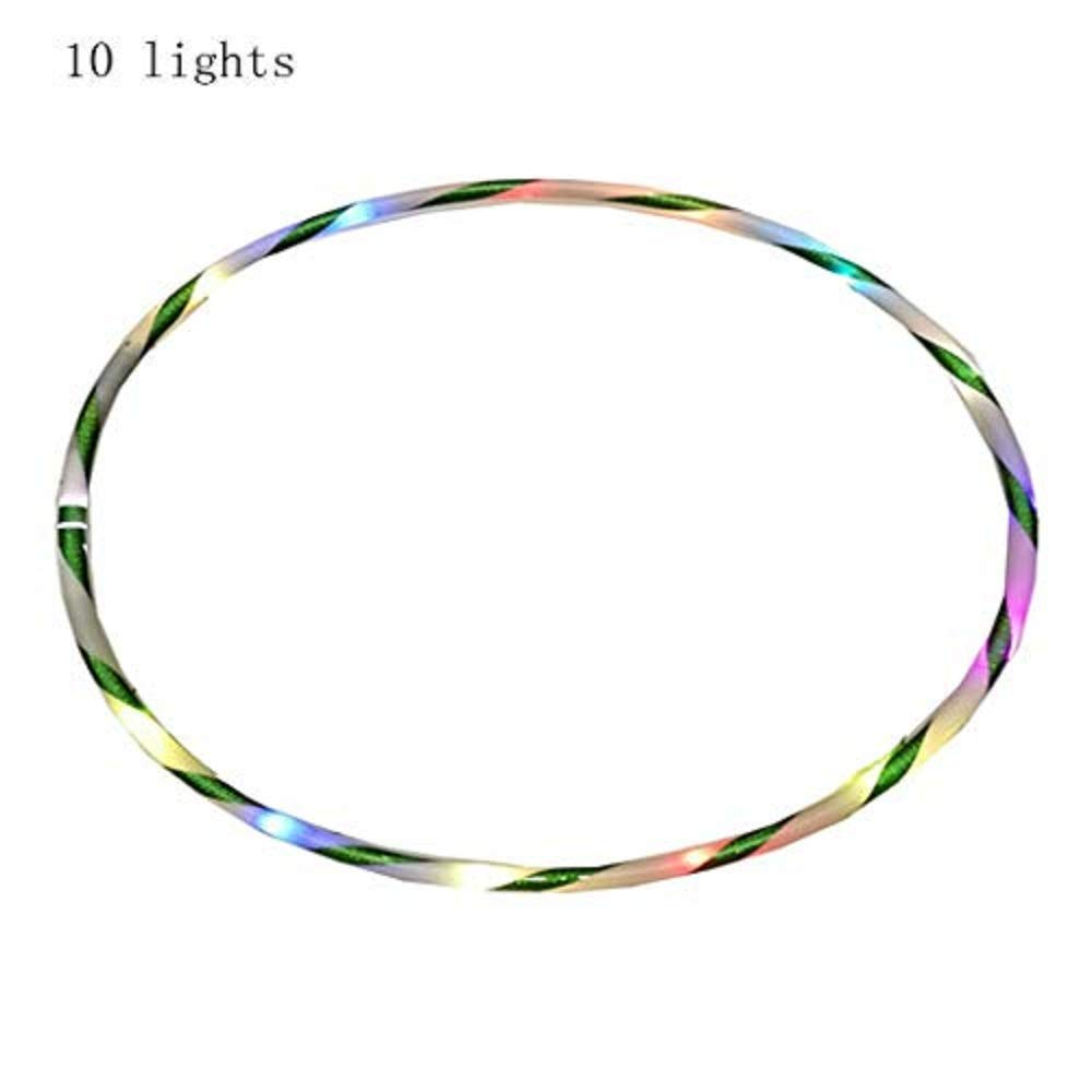 Gijoki LED Hula Hoop Fully Rechargeable Colorful Light Flash Fitness Weight Loss Fitness Equipment
