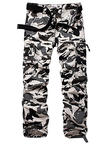 Addt Must Way Men's Cotton Multi Pockets Cargo Athletic Fit Pant with Stretch Black Hawk Camo 42