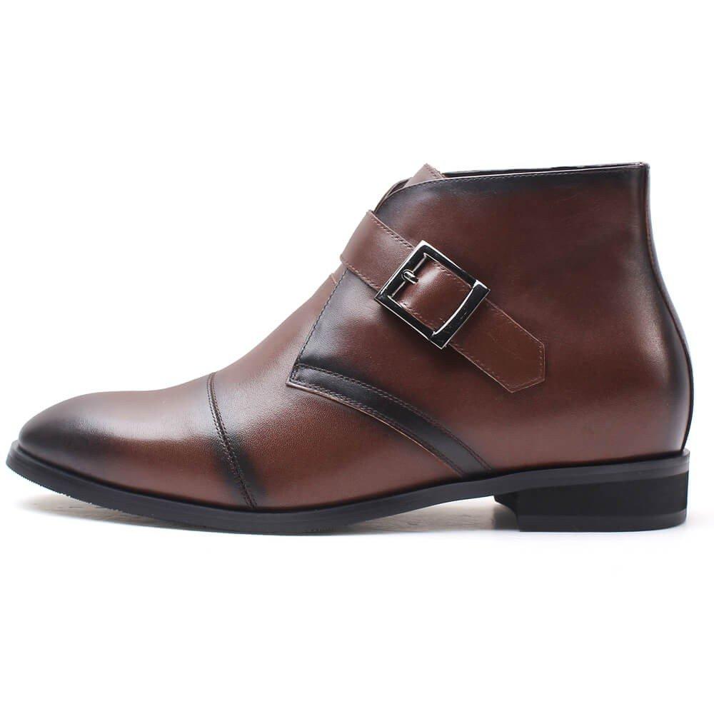 Chamaripa Men's Brown Leather Hight Increasing Shoes Chukka Boot H72B11K101D US 11.5